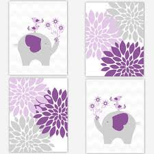 Purple Nursery Wall Decor Purple Elephant Nursery Wall Decor Baby Nursery
