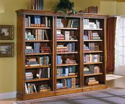 distressed cherry finish classic bookcase w gold accents