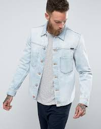 light blue denim jacket mens style nudie jeans co ronny denim jacket crispy ocean light wash