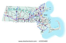 massachusetts road map massachusetts map stock images royalty free images vectors