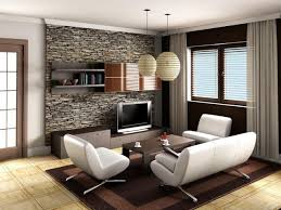 cozy small living room design ideas with white sofa on brown rug