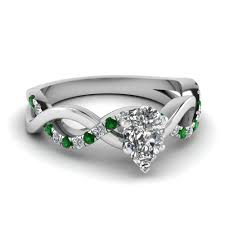 emerald engagement ring pear shaped infinity ring with emerald in 14k white gold