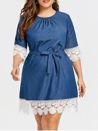 blue lace dress denim blue 4xl casual plus size lace trim dress rosegal
