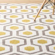Modern Yellow Rug Rugs Curtains Modern Yellow And White Geometric Area Rug For