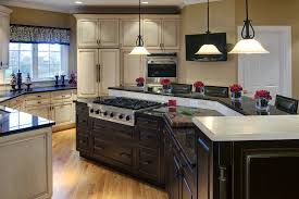 kitchen with stove in island island stove top kitchen contemporary with cove lighting gray