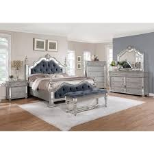 Grey Furniture Bedroom Best Quality Furniture Glam Grey 6 Tufted Panel Bedroom Set