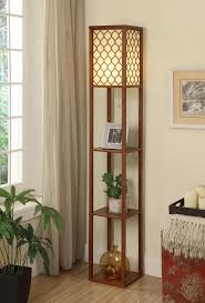 Standing Lamp With Shelves by Wooden Floor Lamp With Square Shelves And Quatrefoil Shade