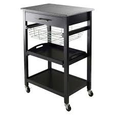 julia granite top kitchen cart wood black winsome granite tops