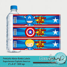 superheros captain america inspired printable water bottle labels