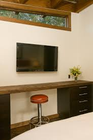 interior modern cabin with wall flatscreen tv furnished with desk