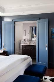 en suite bathroom with barn door on rails transitional bathroom