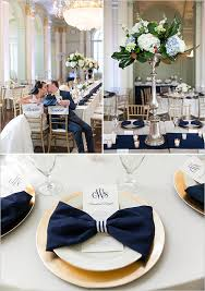 navy blue and white striped ribbon blue and yellow monogrammed wedding gold chargers napkin rings