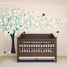 impressive neutral baby room deecor green tree wall decal full size of baby nursery wonderful green white cherry blossom tree wall decal black bird