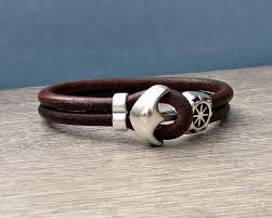 bracelet men leather images Anchor bracelet mens leather bracelet cuff sailing bracelet jpg
