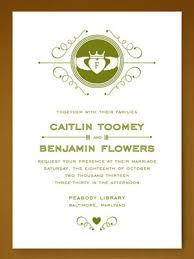 wedding invitations rectangle green white floral pattern