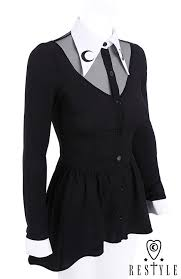 black blouse with white collar shirt black shirt with basquine white collar with