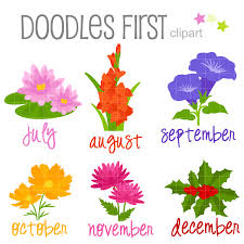 flowers of the month flower of the month july december digital clip for