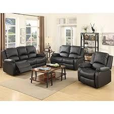 black livingroom furniture suncoo 3 bonded leather recliner sofa set
