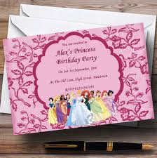 Princess Themed Birthday Invitation Cards Pink Princess Theme Personalised Birthday Party Invitations The