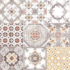 tile pattern retro floral motif kitchen bathroom vinyl wallpaper