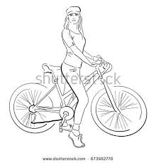 royalty free young woman with bike line sketch u2026 400727323 stock