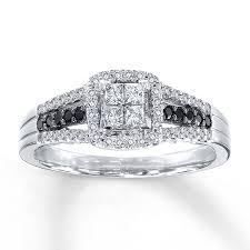white diamonds rings images Kay black white diamonds 1 2 ct tw engagement ring 10k white gold jpg