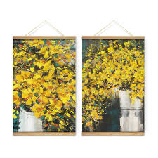 yellow flowers vases decoration wall pictures canvas wooden