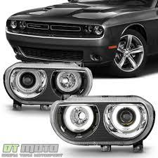 Dodge Challenger Xenon Headlights - black 2008 2014 dodge challenger hid version led ccfl halo