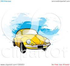 yellow volkswagen beetle royalty free clipart of a yellow vw slug bug car over blue paint strokes