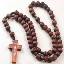 bead necklace with cross images Retro style men women catholic christ wooden rosary bead cross jpg