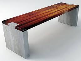 Outdoor Modern Bench Wood And Concrete Slab Garden Bench Garden Pinterest