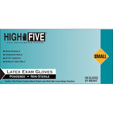 latex quote in box high five products disposable lightly powdered smooth latex gloves