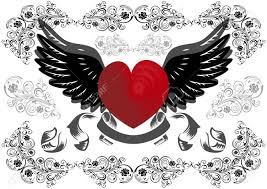 Hearts With Wings - illustration of with wings and background royalty free