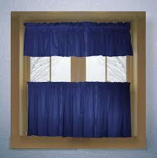 Kitchen Tier Curtains Royal Blue Color Tier Kitchen Curtain Two Panel Set