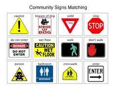 community safety signs and symbols matching by peace love autism