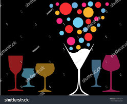 design cocktail partywine listvector set bottles stock vector