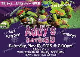 teenage mutant ninja turtles birthday invitations 2014 kustom