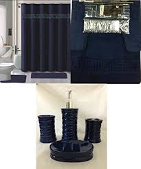 Navy Blue Bathroom Accessories by Amazon Com 19 Piece Bath Accessory Set Square Navy Soft Memory
