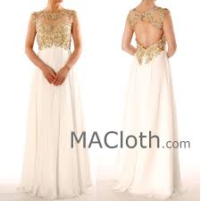 straps gold lace chiffon ivory long prom dress with open back