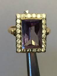 chagne engagement ring vintage sapphire ring with white topaz accents in 10k gold purple