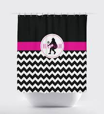 Pink Black And White Shower Curtain Volleyball Chevron Shower Curtain Silhouette U0026 Monogram U2013 Shop