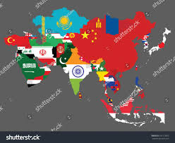 Map Of Asian Countries Detailed Map Asia All Countries Flags Stock Vector 375173872
