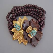 flower beads bracelet images Haskell hess wood flower beads aqua coral bracelet morning jpg