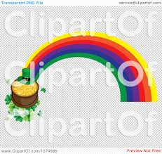clipart leprechaun hat and pot of gold on shamrocks at the end of