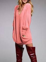 deep slouch dress burgundy v neck long sleeve short