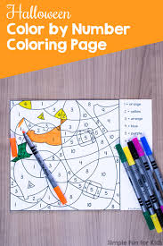 halloween color number coloring printable simple fun