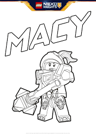 macy coloring page colouring page activities nexo knights
