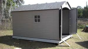 big outdoor storage shed with taupe color finish and lifetime