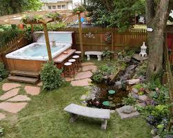 exterior design cool backyard tub ideas with above ground spa