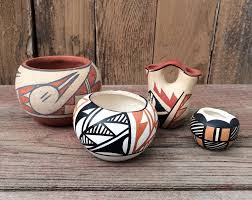 Native American Wedding Vase Collection Of Four Miniature Signed Native American Pots Acoma